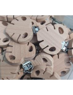 Clip madera natural hoja