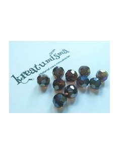 10 x BOLAS CRISTAL FACETADO 10mm SMOKED TOPAZ