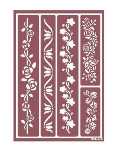 Plantilla stencil para ácido cenefa flores y rosas