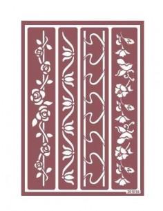 Plantilla stencil para ácido cenefa flores y cintas
