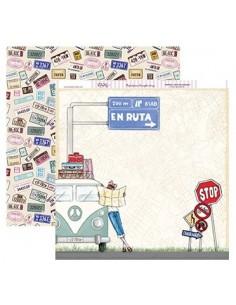 "Papel scrapbooking ""En ruta"" Dayka"