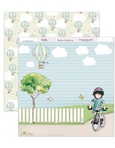 """Papel scrapbooking """"En bicicleta"""" DAYKA"""