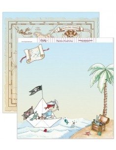 "Papel scrapbooking ""Pirata y mapa del tesoro"" DAYKA"
