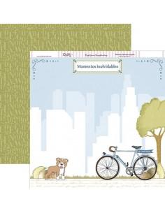 """Papel scrap """" Comunión niño. Bici y perro """""""
