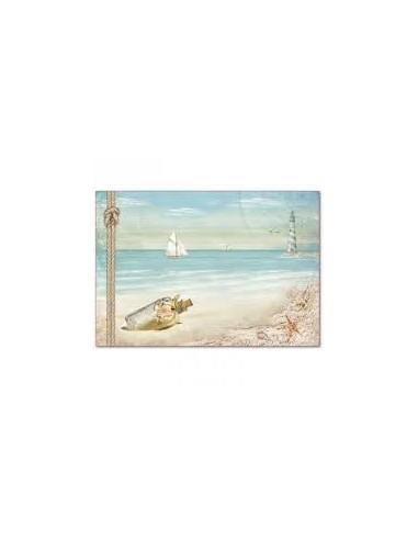 Papel arroz Sea Land Sailing ship and lighthouse