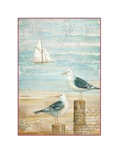 Papel de arroz Din A4 Sea Land Seagulls
