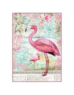 Papel de arroz Din A4 pink flamingo
