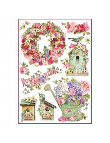 Papel de arroz Din A4 rose garden