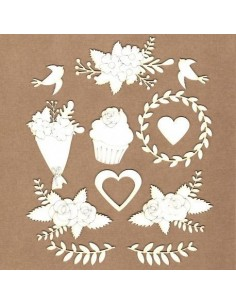 Chipboard set flores de boda