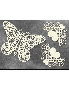 Set Chipboard mariposa vintage