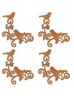 siluetas DM Set 4 esquinas pájaros en rama