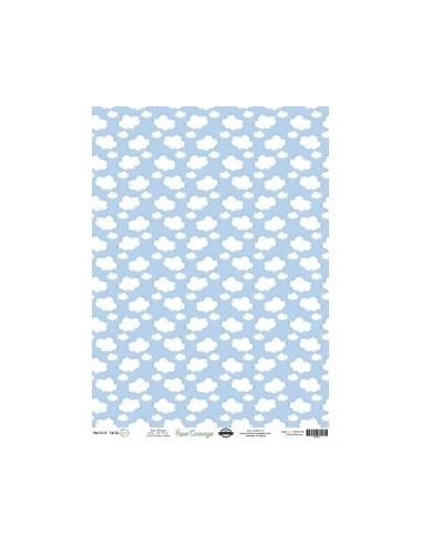 Papel cartonaje nubes azul 32x45cm. PD00302