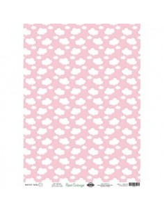 Papel cartonaje 32x45cm nubes rosa. PD00303