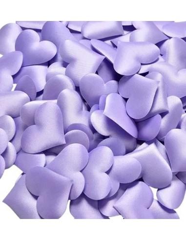 Corazones de tela lilas