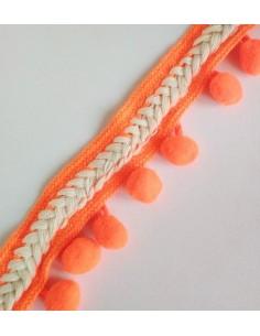 Cinta trenzada de madroños naranja