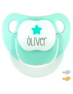Chupete personalizado baby deco estrella mint